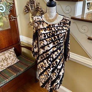 Enfocus leopard split sleeve dress